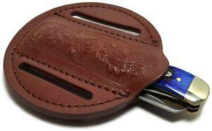 Round Leather Trapper Folding Blade Knife Belt Sheath Holster for Pocket Knives