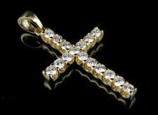 Unisex 14k Yellow Gold One Row Prong Genuine Diamond Cross Pendant 1.25ct 1.4 in