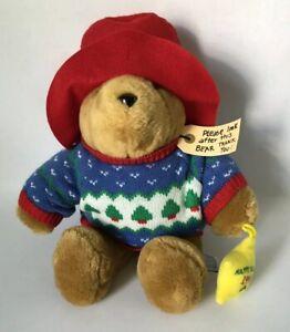 "1998 Paddington Holiday Bear Plush 14"" Red Hat Sears Kids Gifts Vintage"