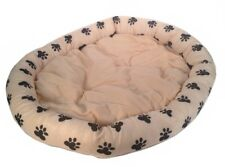 pet bed cushion 33 x 28 peach/pink w. black paw prints soft cozy plush pillow