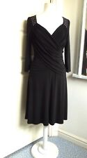 Stunning JOSEPH RIBKOFF Sexy Black Stretch Fit Ruched Dress Evening Party UK 14