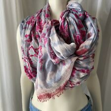 Leigh & Luca Lightweight Pink Textured Fringe Shawl Wrap Scarf Velvet Burnout