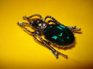 Fashion Rhinestone Faceted Stone Beetle Brooch Pin New!!  Betsey Johnson