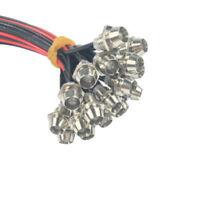 Lots 20-100pcs 3mm 5mm 3V Pre wired LED Light Lamp 18cm with Chrome Bezel Holder