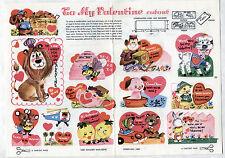 Vintage VALENTINE Cutouts page 1968 Uncut/LION/LEMON/LAMB/PIG/BEE/SQUIRREL/DUCK