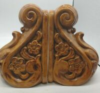 Vintage Handmade Ceramic Bookends Floral Flowers Leaves Decor