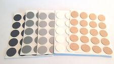 20 Abdeckkappen selbstklebend 13mm, schwarz, grau, silber, kiefer, buche, weiß