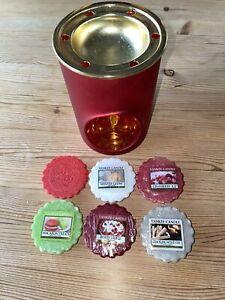 Official Yankee Candle Christmas Red Tartan Wax Melt Warmer Burners + 6 Tarts