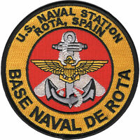 """USN NAVY SQUADRON NAS ROTA SPAIN AIR STATION 4"""" EMBROIDERED  PATCH"""