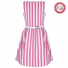 LINDY BOP Mini Audrey Childrens Pink White Candy Stripe Party Dress Age 3-4