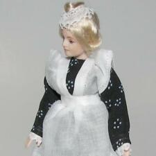 Dollhouse Dressed Lady Doll Erna Meyer 8792 Maid Porcelain Head Blk/Wh Miniature