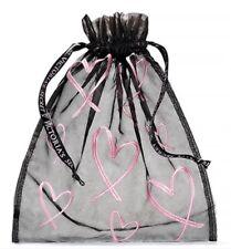 VICTORIA'S SECRET BLACK PINK HEARTS LINGERIE BAG POUCH DRAWSTRING MESH BRA PANTY