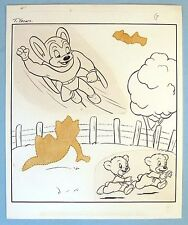 MIGHTY MOUSE, TERRY BEARS - STICKER FUN ACTIVITY BOOK INTERIOR ART PAGE - 1950's