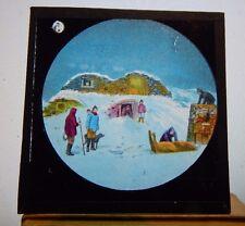 Antique glass  Magic Lantern Slide Arctic Scenes Hunting camp   colour slide 5
