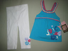 NEW JUICY COUTURE INFANT 12-18 MONTHS WHITE BLUE PINK CROCHET 2 PIECE SET CUTE!!