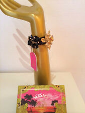 Versace for H&M Armband Damen-Armband Leder m. Blüten schwarz/gold *NEW* in Box