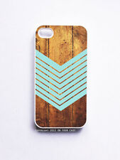 iPhone 4/ 4S Case- Dark Wood Geometric Teal