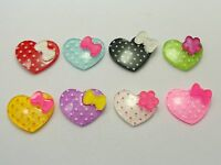 25 Mixed Color Resin Polka Dots Heart Cabochon 18X15mm For Scrapbook Hair Bows
