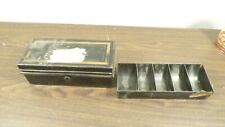 Antique Vintage Metal Cash Box with Coin Tray Insert