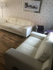 2 And 3 Seater Sofas - Cream Leather