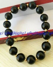Natural 10mm Black Agate Gemstone Round Beads Gold color Beads Bracelet7.5''