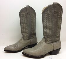 VTG MENS UNBRANDED COWBOY ANTELOPE LEATHER GRAY BOOTS SIZE 8.5 E
