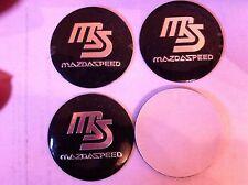 MAZDA SPEED ALLOY WHEELS CENTRE LOGO STICKER SET (4) BLACK DIAMETER 56 mm