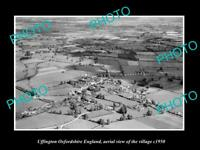 OLD LARGE HISTORIC PHOTO UFFINGTON OXFORDSHIRE ENGLAND TOWN AERIAL VIEW c1950 1