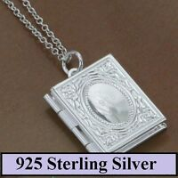 """925 Sterling Silver Women's 18"""" Necklace And Photo Locket D200"""