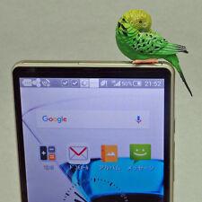Cell phone earphone jack charm - Parakeet Resting ( green )
