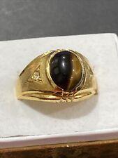 gold plated size 11.5 estate jeweler New listing mens tiger eye ring 18 k