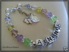 Personalized Name Bracelet Baby  ~ Swarovski Crystals Christening Naming Day