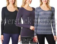 Womens Weatherproof 32 Degrees Heat Base Layer Long Sleeve Scoop Neck Top!