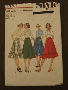 Vintage Retro Style Pattern 1452 - Misses Skirts - Size 16