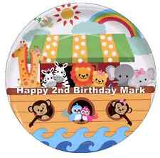 """Noah's Ark Animals Personalised Cake Topper 7.5"""" Edible Wafer Paper"""