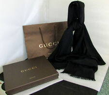 GUCCI BLACK MONOGRAM GUCCISSIMA 100% SILK STOLE FRINGE SCARF MADE IN ITALY