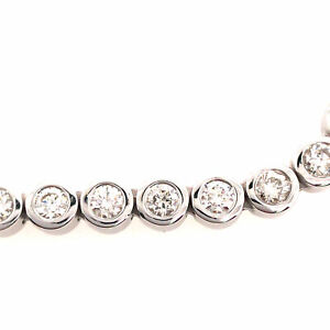 "14K Long 31.5"" Diamond Tennis Necklace White Gold"