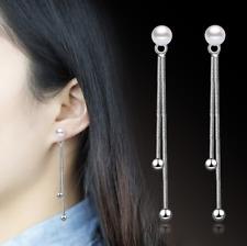 Korean Chic Women Pearl Drop Dangle Tassel 925 Sterling Silver Ear Stud Earrings