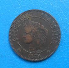 2 centimes Cérès 1878 K Bordeaux , cote TB 14€
