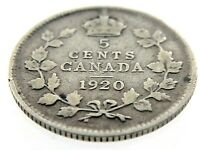 1920 Canada 5 Cents Small Silver Circulated Canadian George V Coin M985