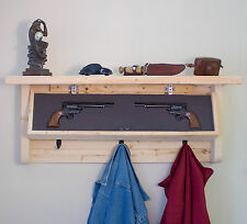 Pine Home Rustic cloth apparel hanging Hooks & Fire Arms Gun secure magnet Rack