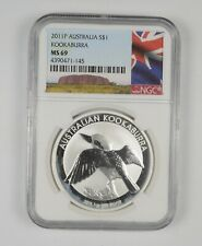 MS69 2011-P Australia 1 Dollar - Silver Kookaburra - Graded NGC *357