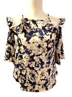 NWT New Sim & Sam from Stitch Fix Womens Floral Ruffle Shirt Top size S Small