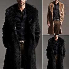Men Overcoat Warm Faux Fur Coat Parka Outerwear Long Jacket Winter Coat Plus New