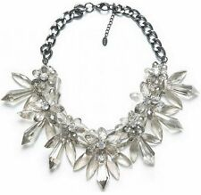 Statement Collier Necklace Luxury Chunky Crystal Look Flower Rhinestone Clear
