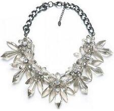 Statement Collier Halskette Luxus Chunky Kette Kristall Optik Blume Strass KLAR