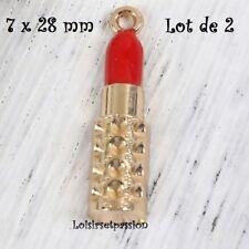 114 - BRELOQUE / CHARM - Rouge à lèvres, Maquillage, émaillé, 7 x 28 mm, X 2 pcs