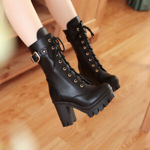 Womens Riding Combat Boots Platform Block Heels Ankle Boots Lace Up Chunk Shoes