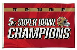San Francisco 49ers 3x5 Flag Banner 5X Time Champions Outdoor House Football