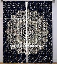 Black Gold Ombre Mandala Tapestry Curtain Indian 2 Valances Drape Panel Curtains